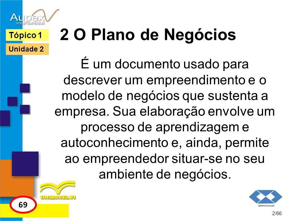 2 O Plano de Negócios É um documento usado para descrever um empreendimento e o modelo de negócios que sustenta a empresa. Sua elaboração envolve um p