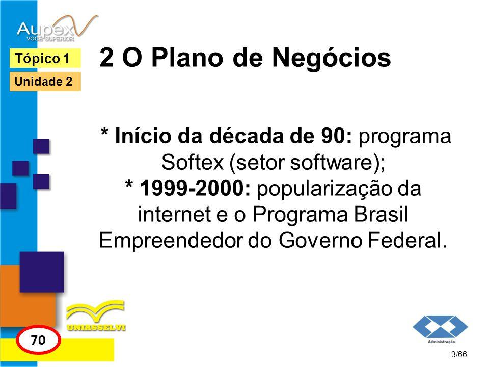 2 O Plano de Negócios * Início da década de 90: programa Softex (setor software); * 1999-2000: popularização da internet e o Programa Brasil Empreende