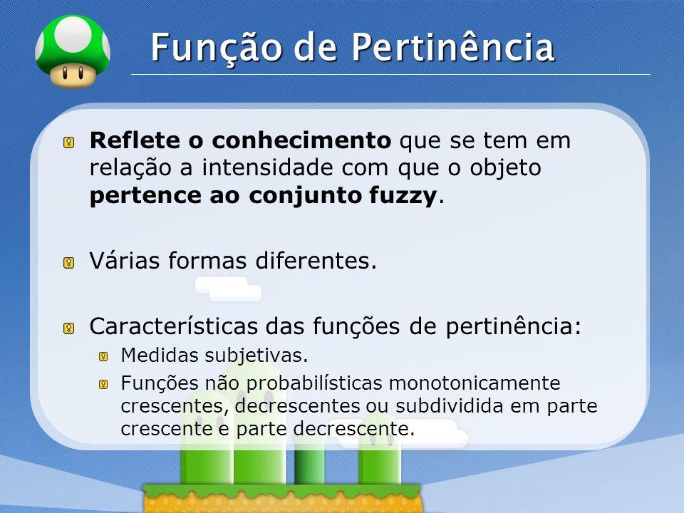 LOGO Função de Pertinência Reflete o conhecimento que se tem em relação a intensidade com que o objeto pertence ao conjunto fuzzy. Várias formas difer