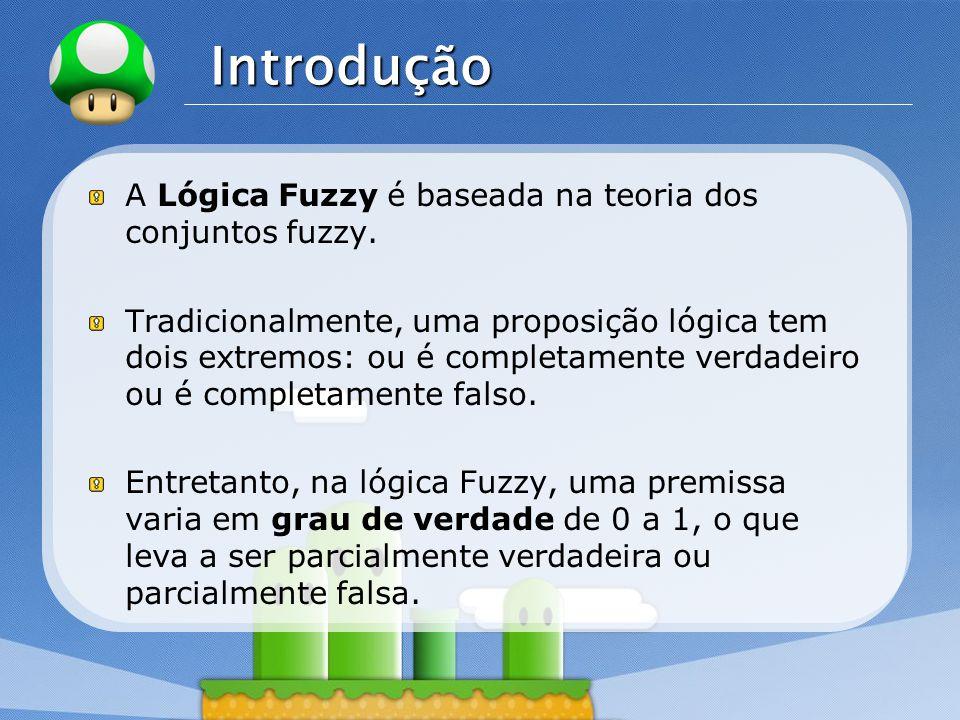 LOGO Conjuntos Fuzzy Um conjunto fuzzy A definido no universo X é caracterizado por uma função de pertinência u A, a qual mapeia os elementos de X para o intervalo [0,1].