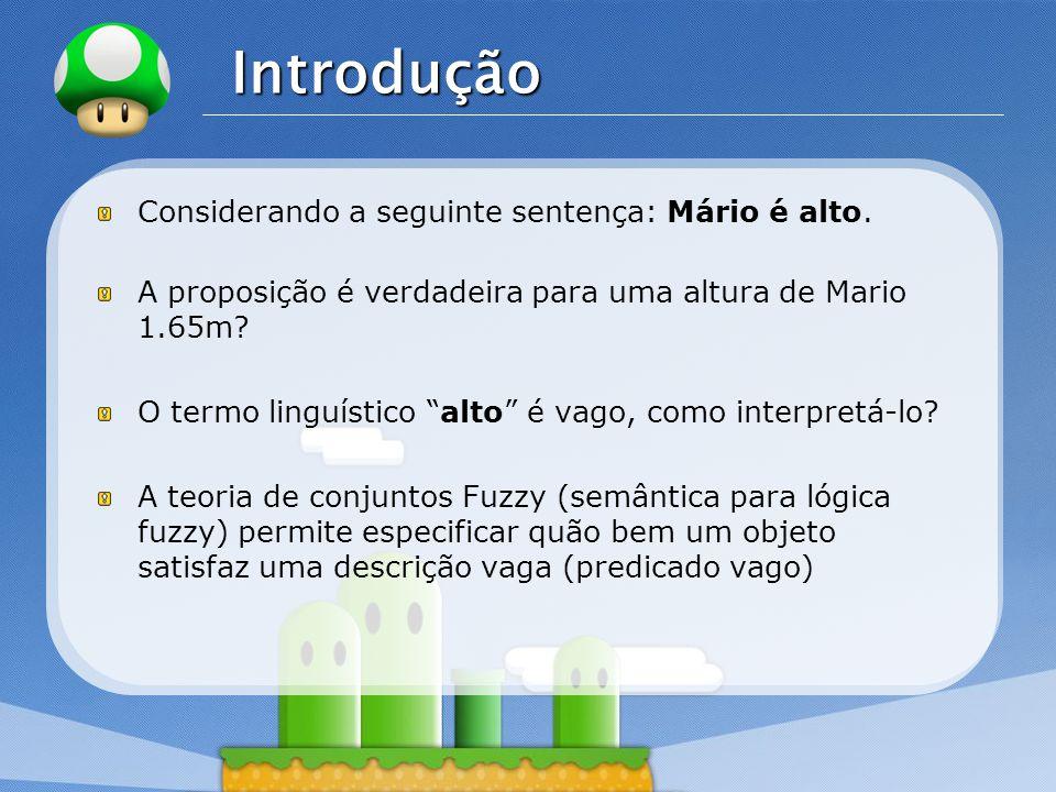 LOGO Introdução Considerando a seguinte sentença: Mário é alto. A proposição é verdadeira para uma altura de Mario 1.65m? O termo linguístico alto é v