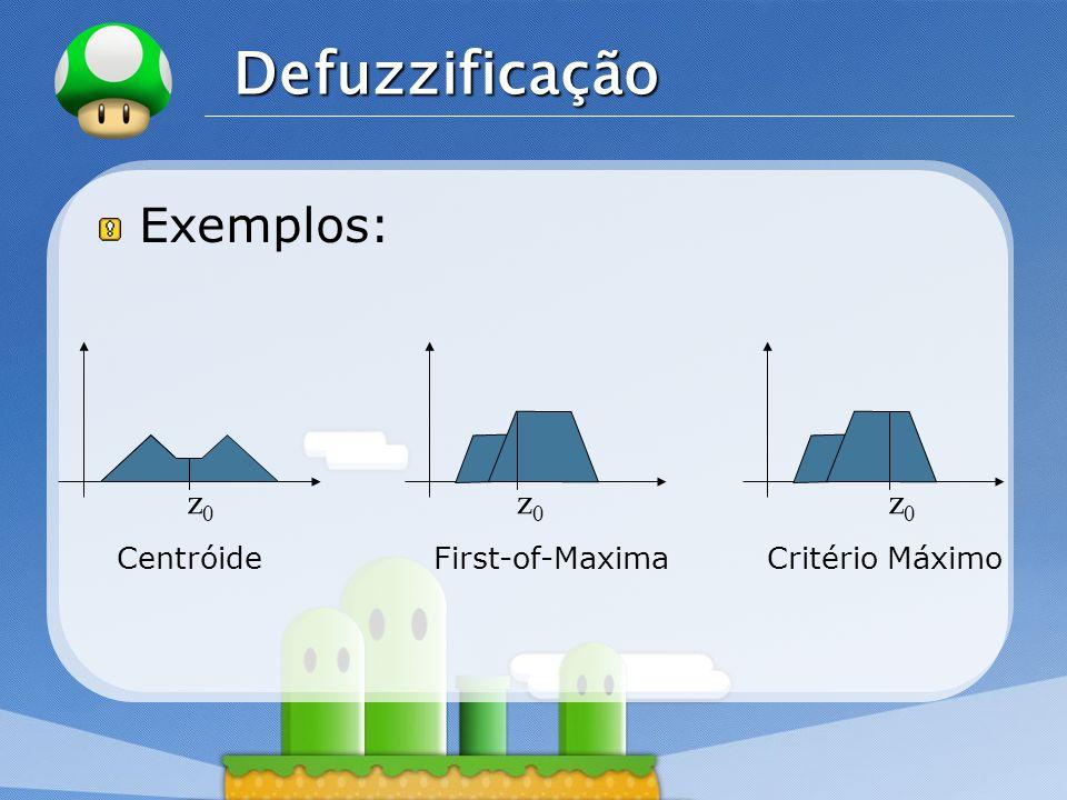 LOGO Defuzzificação Exemplos: z0z0 z0z0 z0z0 CentróideFirst-of-MaximaCritério Máximo