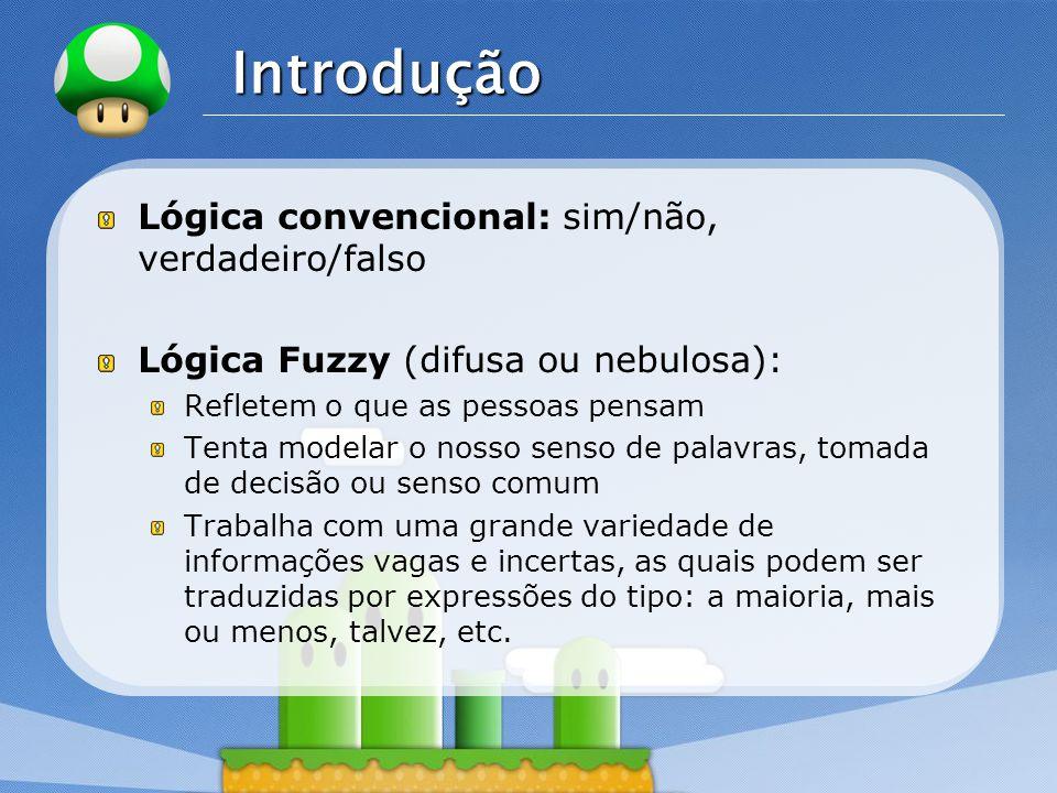 LOGO Exemplo Inferência Fuzzy Exemplo: Um analista de projetos de uma empresa quer determinar o risco de um determinado projeto.