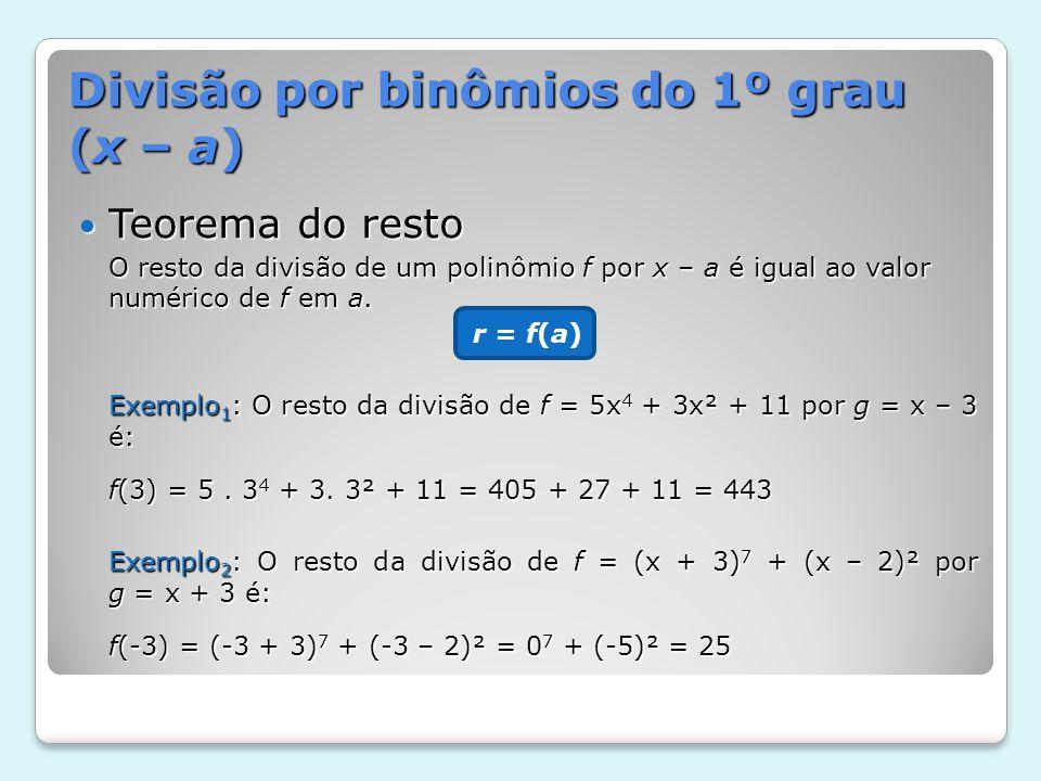 Divisão por binômios do 1º grau (x – a) Teorema do resto Teorema do resto O resto da divisão de um polinômio f por x – a é igual ao valor numérico de