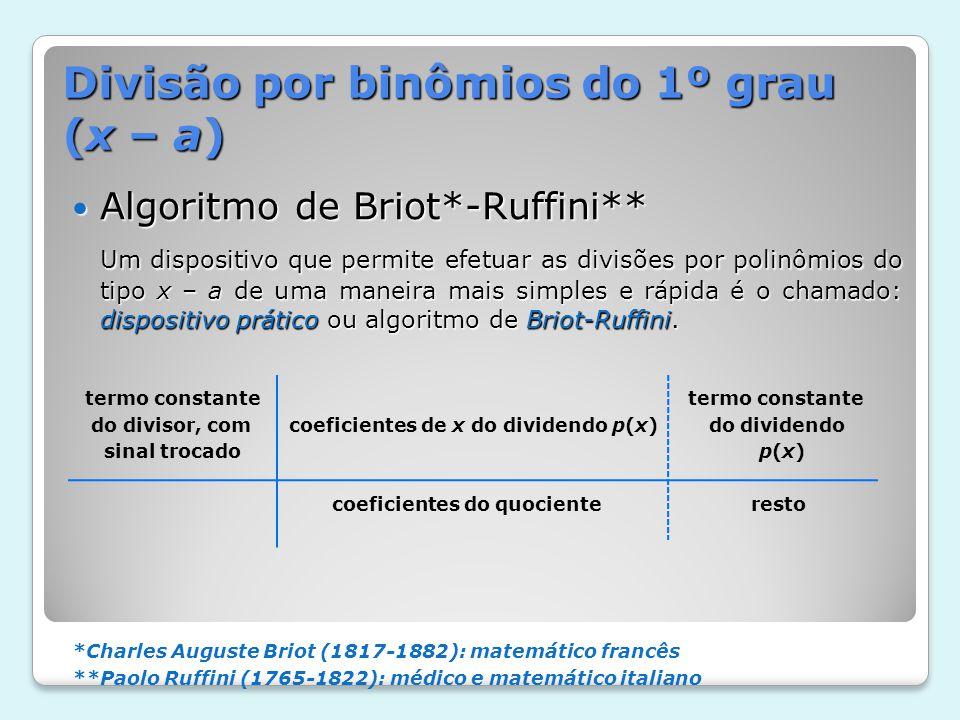 Divisão por binômios do 1º grau (x – a) Algoritmo de Briot*-Ruffini** Algoritmo de Briot*-Ruffini** Um dispositivo que permite efetuar as divisões por