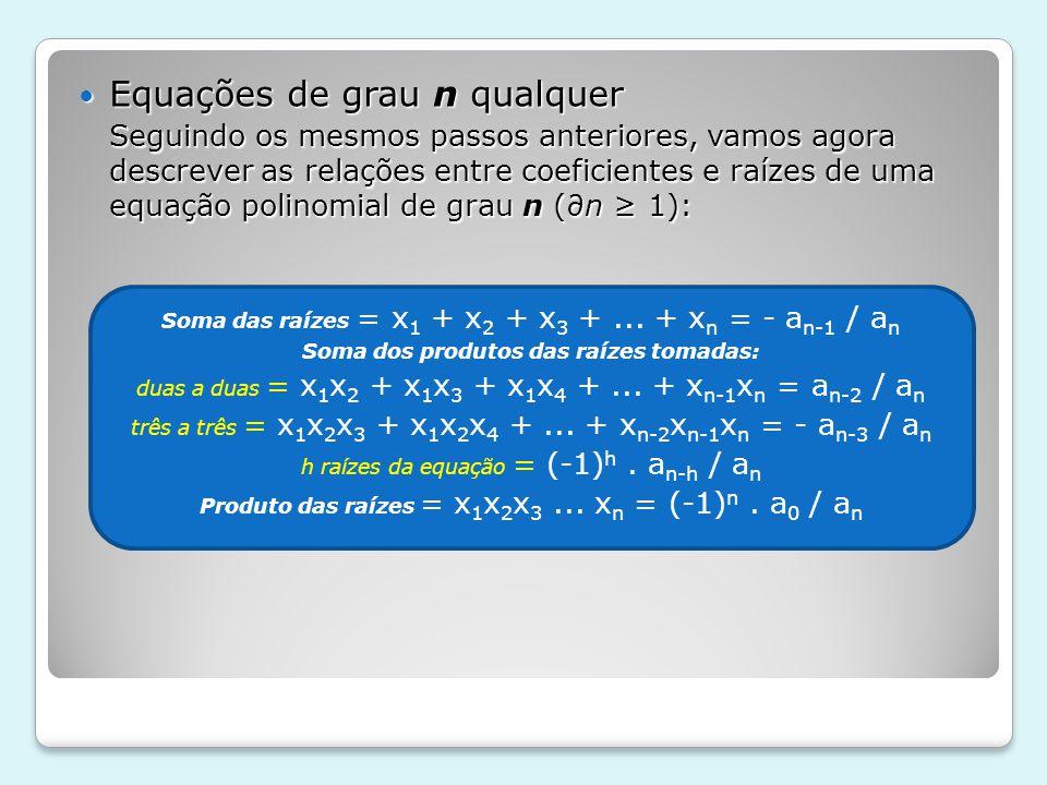 Equações de grau n qualquer Equações de grau n qualquer Seguindo os mesmos passos anteriores, vamos agora descrever as relações entre coeficientes e r
