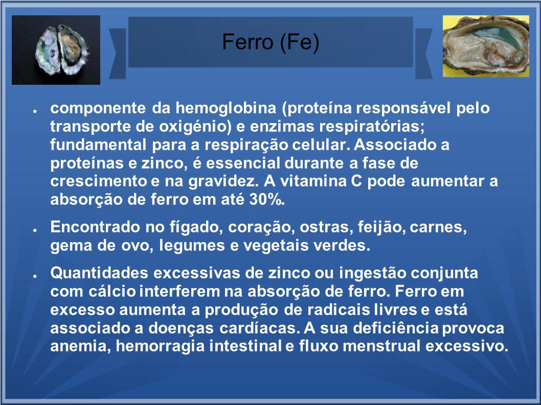 Ferro (Fe) componente da hemoglobina (proteína responsável pelo transporte de oxigénio) e enzimas respiratórias; fundamental para a respiração celular