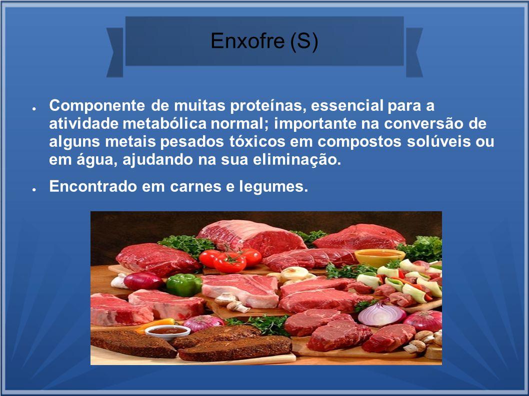 Enxofre (S) Componente de muitas proteínas, essencial para a atividade metabólica normal; importante na conversão de alguns metais pesados tóxicos em