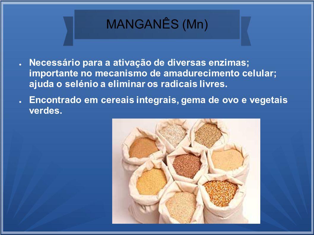 MANGANÊS (Mn) Necessário para a ativação de diversas enzimas; importante no mecanismo de amadurecimento celular; ajuda o selénio a eliminar os radicai