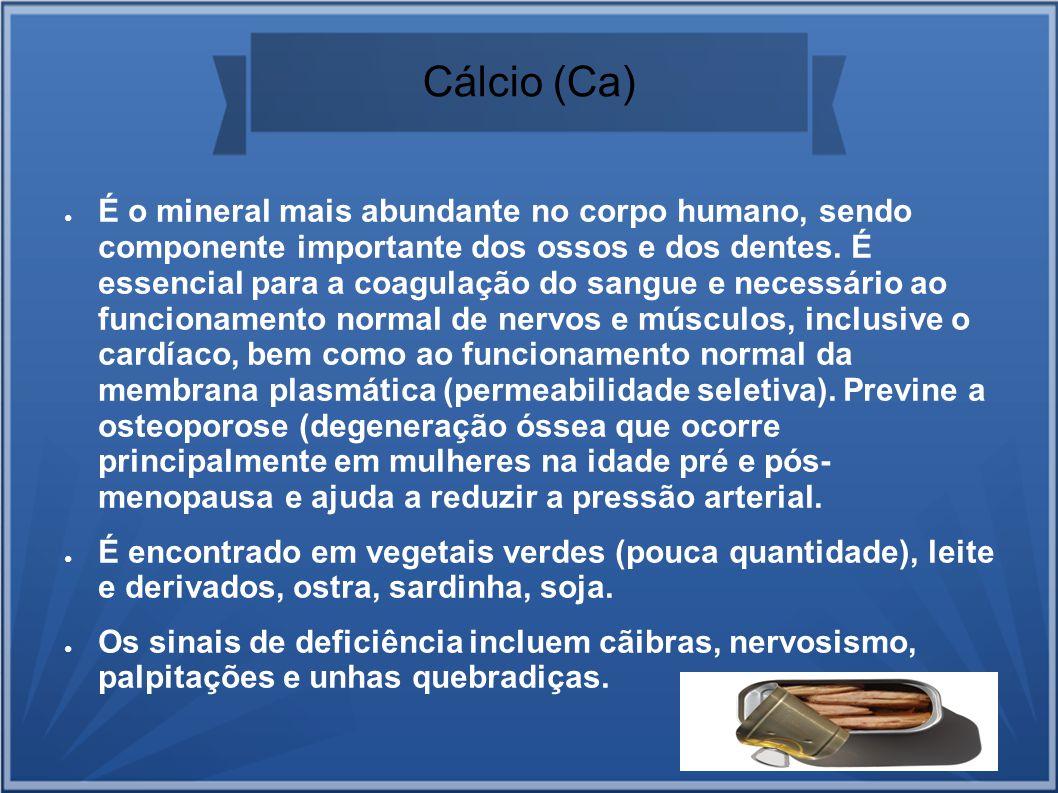 Cálcio (Ca) É o mineral mais abundante no corpo humano, sendo componente importante dos ossos e dos dentes. É essencial para a coagulação do sangue e