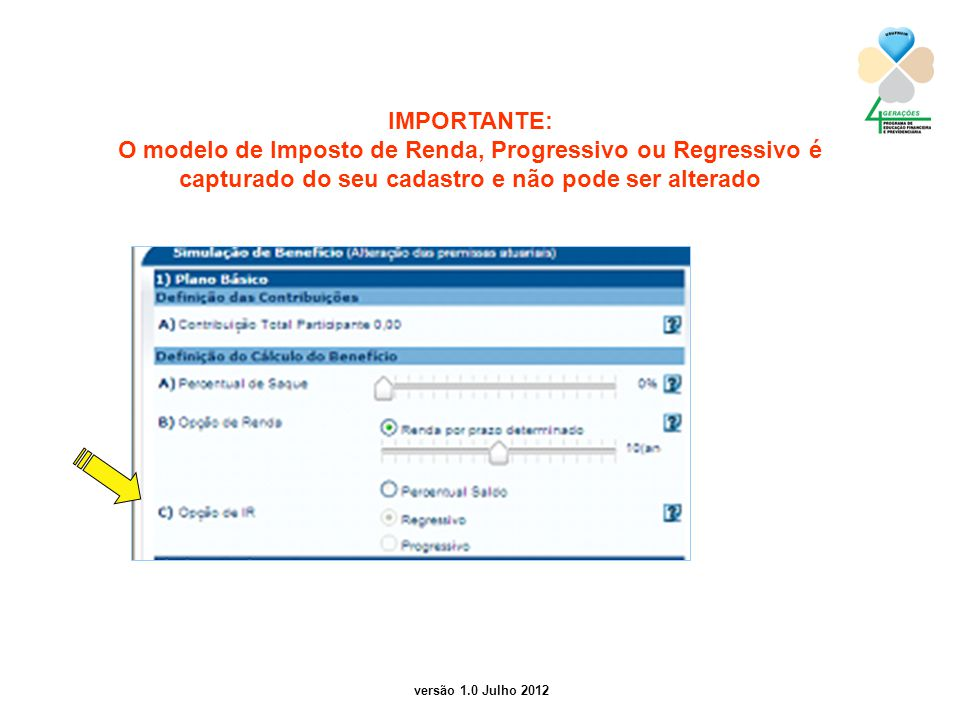 versão 1.0 Julho 2012 2 IMPORTANTE: O modelo de Imposto de Renda, Progressivo ou Regressivo é capturado do seu cadastro e não pode ser alterado