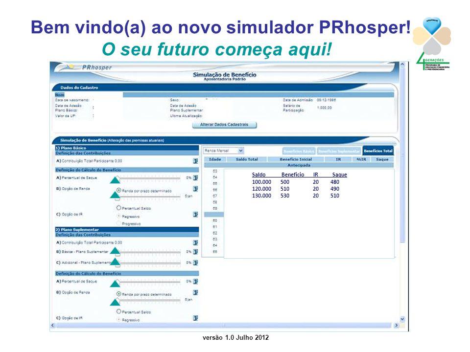 versão 1.0 Julho 2012 Bem vindo(a) ao novo simulador PRhosper! O seu futuro começa aqui! Saldo Beneficio IR Saque 100.000 500 20 480 120.000 510 20 49