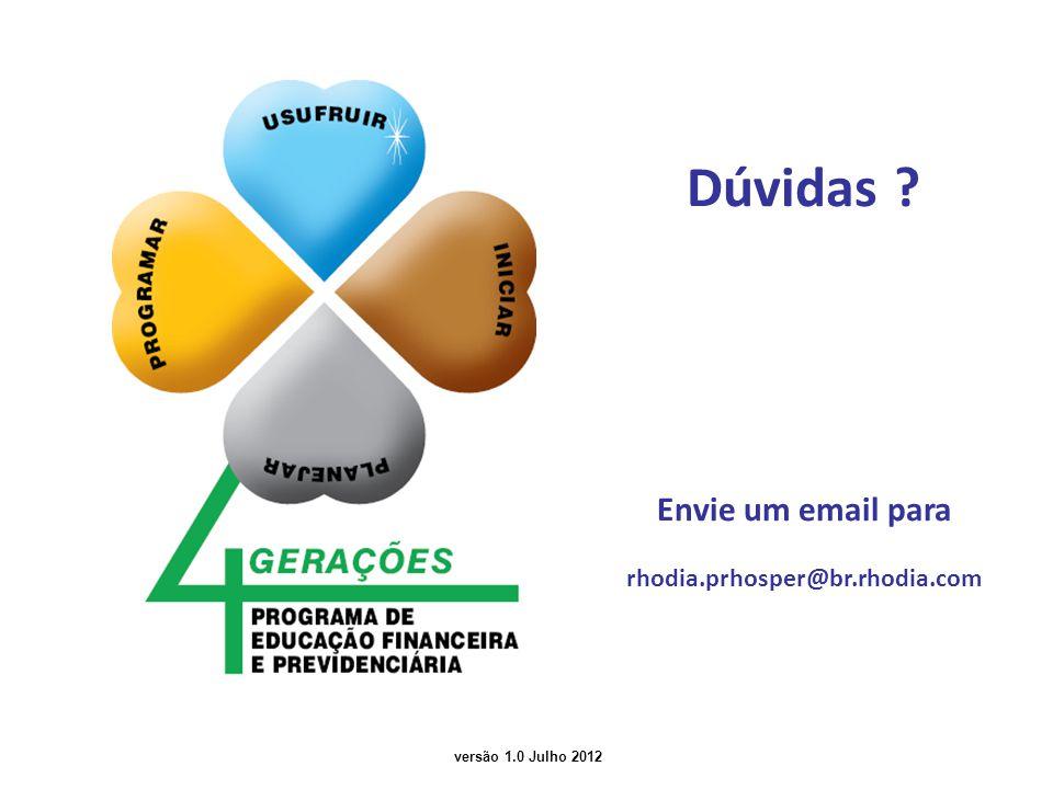 versão 1.0 Julho 2012 Dúvidas ? Envie um email para rhodia.prhosper@br.rhodia.com