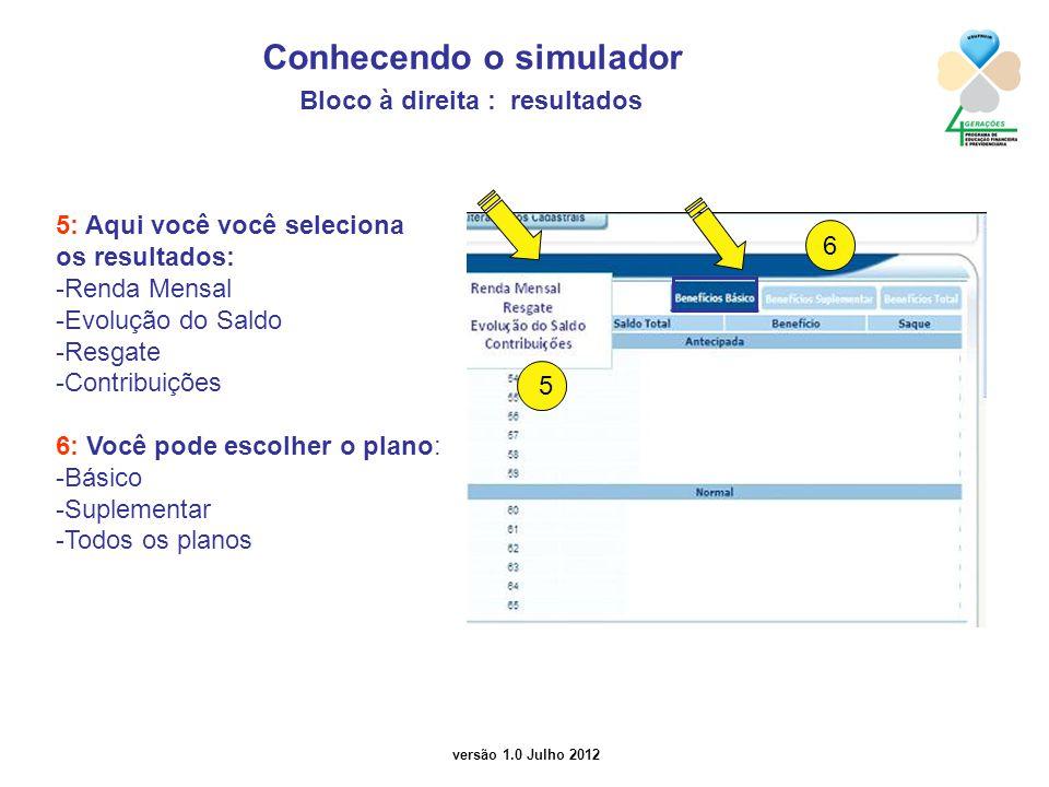 versão 1.0 Julho 2012 5: Aqui você você seleciona os resultados: -Renda Mensal -Evolução do Saldo -Resgate -Contribuições 6: Você pode escolher o plano: -Básico -Suplementar -Todos os planos Conhecendo o simulador Bloco à direita : resultados 6 5