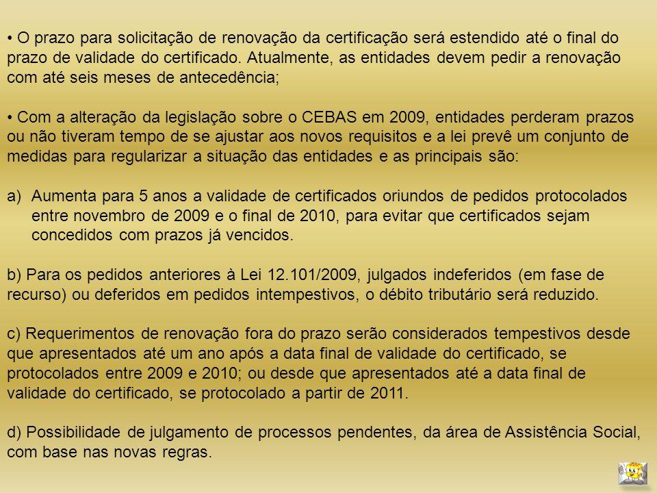 O prazo para solicitação de renovação da certificação será estendido até o final do prazo de validade do certificado.