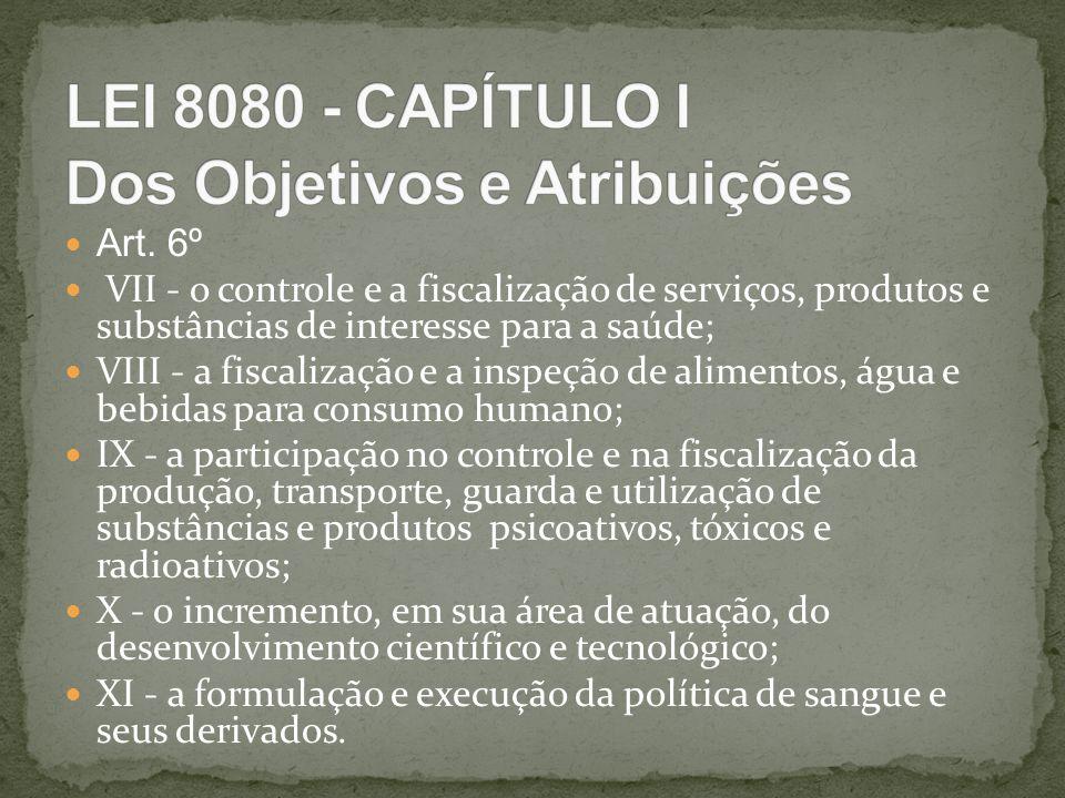 Art. 6º VII - o controle e a fiscalização de serviços, produtos e substâncias de interesse para a saúde; VIII - a fiscalização e a inspeção de aliment