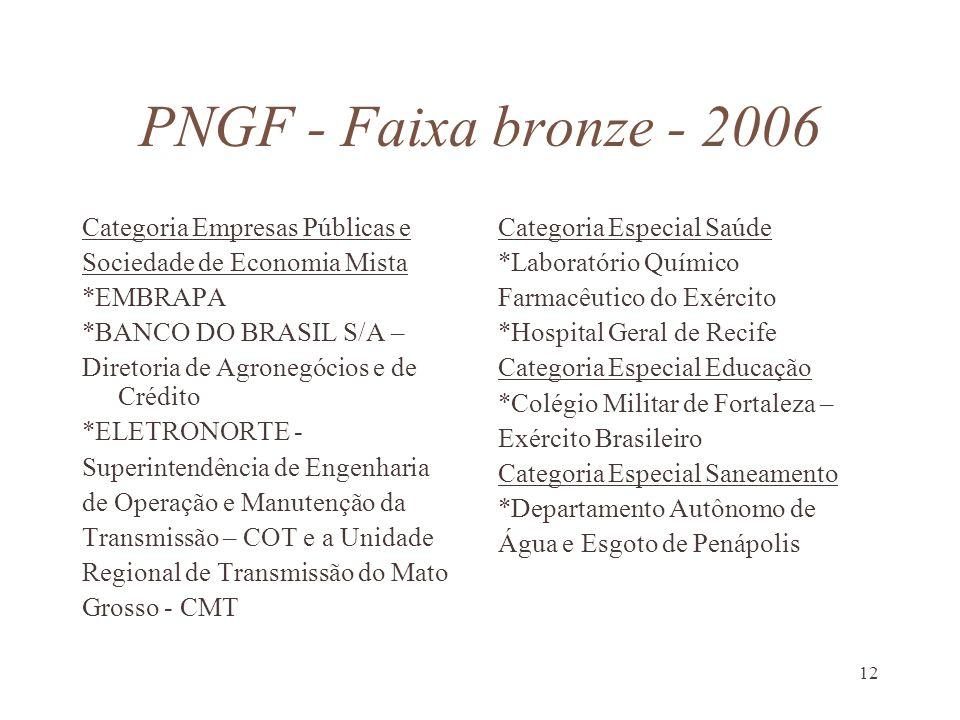 12 PNGF - Faixa bronze - 2006 Categoria Empresas Públicas e Sociedade de Economia Mista *EMBRAPA *BANCO DO BRASIL S/A – Diretoria de Agronegócios e de