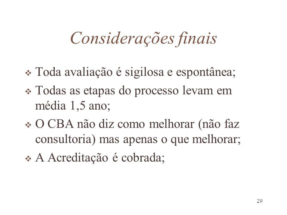 29 Considerações finais Toda avaliação é sigilosa e espontânea; Todas as etapas do processo levam em média 1,5 ano; O CBA não diz como melhorar (não f