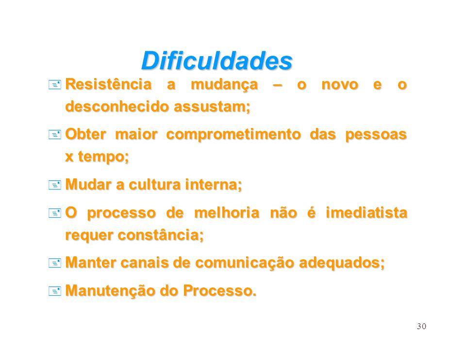 30 Dificuldades + Resistência a mudança – o novo e o desconhecido assustam; + Obter maior comprometimento das pessoas x tempo; + Mudar a cultura inter