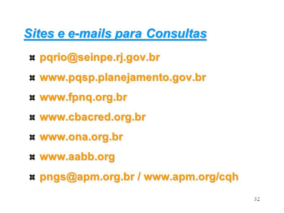 32 Sites e e-mails para Consultas pqrio@seinpe.rj.gov.brwww.pqsp.planejamento.gov.brwww.fpnq.org.brwww.cbacred.org.brwww.ona.org.brwww.aabb.org pngs@a