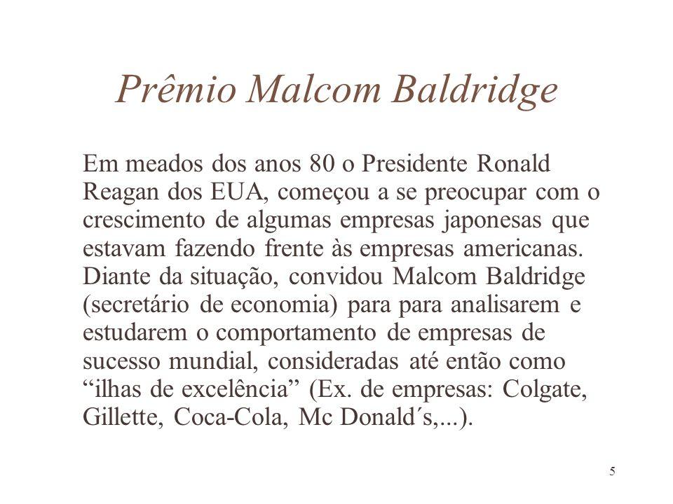 5 Prêmio Malcom Baldridge Em meados dos anos 80 o Presidente Ronald Reagan dos EUA, começou a se preocupar com o crescimento de algumas empresas japon