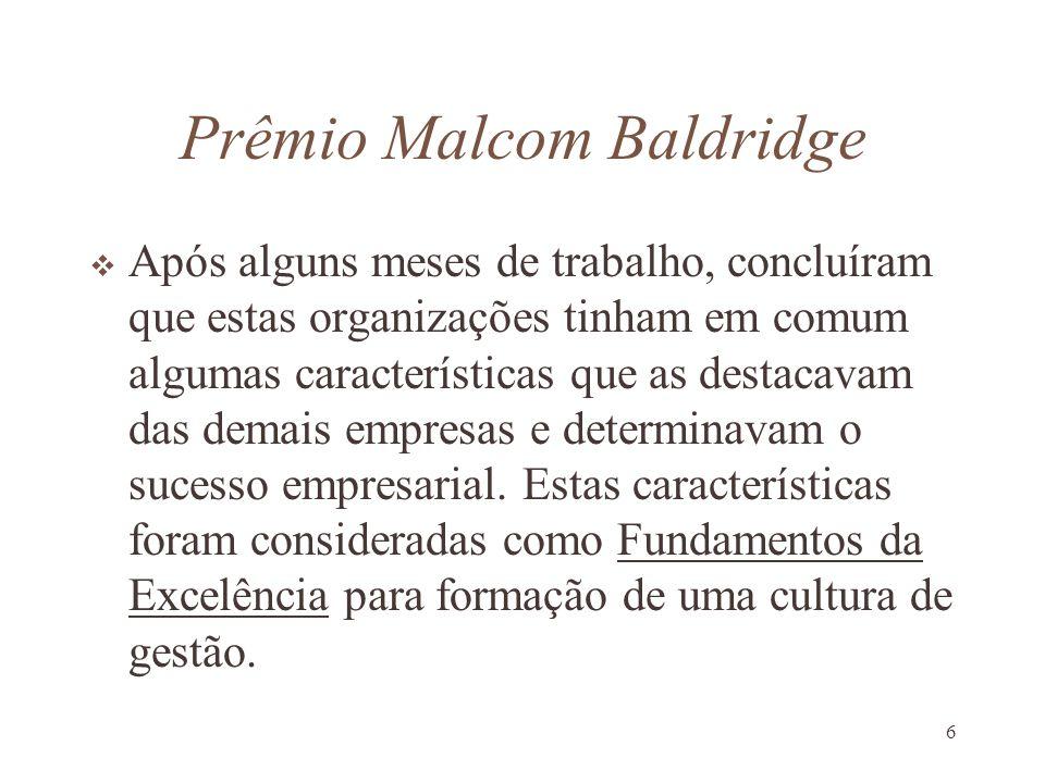 6 Prêmio Malcom Baldridge Após alguns meses de trabalho, concluíram que estas organizações tinham em comum algumas características que as destacavam d