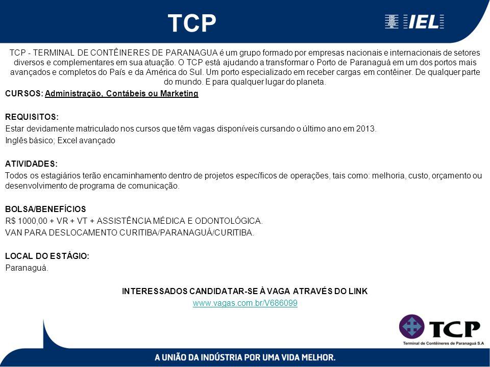 TCP TCP - TERMINAL DE CONTÊINERES DE PARANAGUA é um grupo formado por empresas nacionais e internacionais de setores diversos e complementares em sua