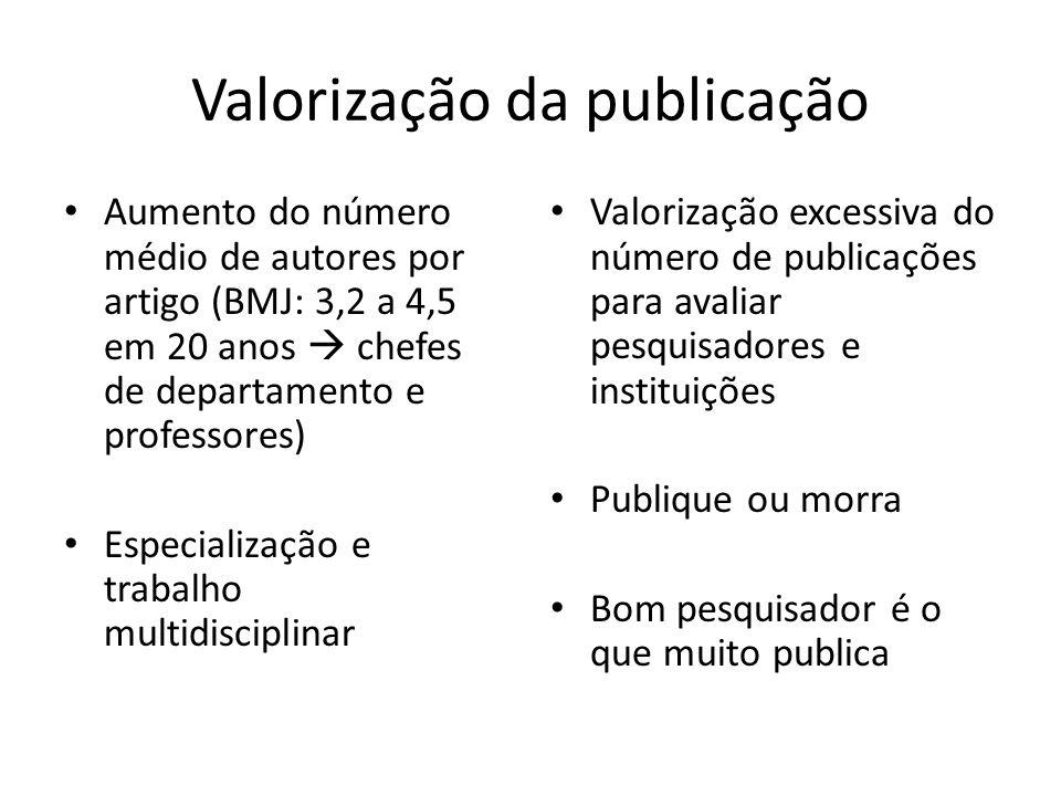 Valorização da publicação Aumento do número médio de autores por artigo (BMJ: 3,2 a 4,5 em 20 anos chefes de departamento e professores) Especializaçã