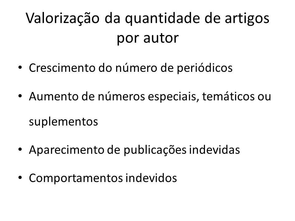 Valorização da quantidade de artigos por autor Crescimento do número de periódicos Aumento de números especiais, temáticos ou suplementos Aparecimento