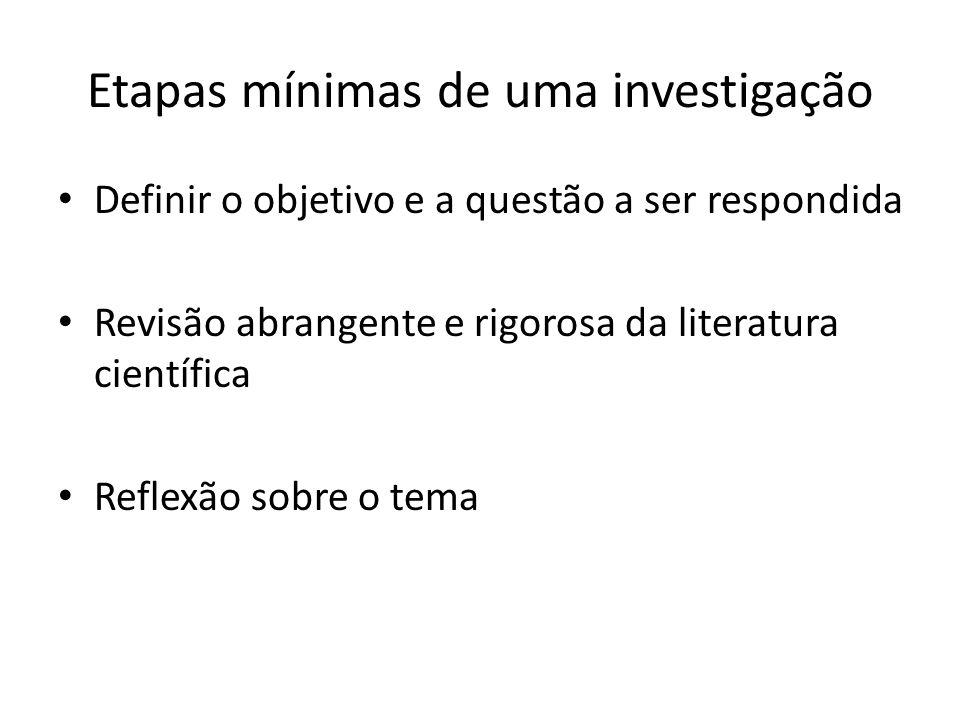 Etapas mínimas de uma investigação Definir o objetivo e a questão a ser respondida Revisão abrangente e rigorosa da literatura científica Reflexão sob