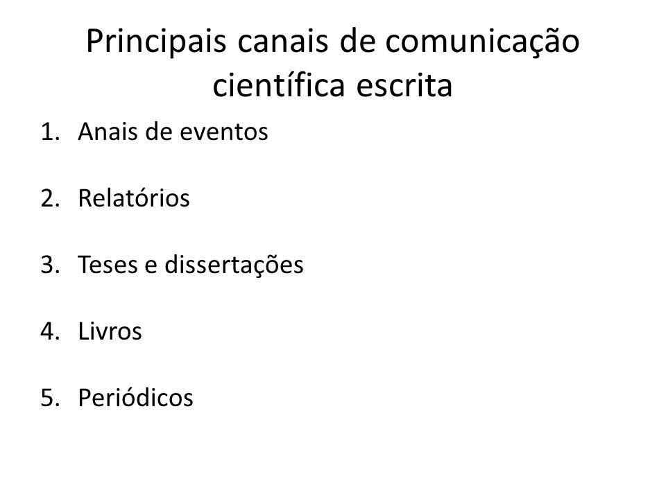 Principais canais de comunicação científica escrita 1.Anais de eventos 2.Relatórios 3.Teses e dissertações 4.Livros 5.Periódicos