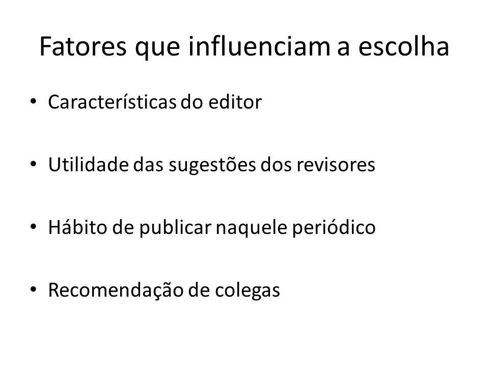Fatores que influenciam a escolha Características do editor Utilidade das sugestões dos revisores Hábito de publicar naquele periódico Recomendação de