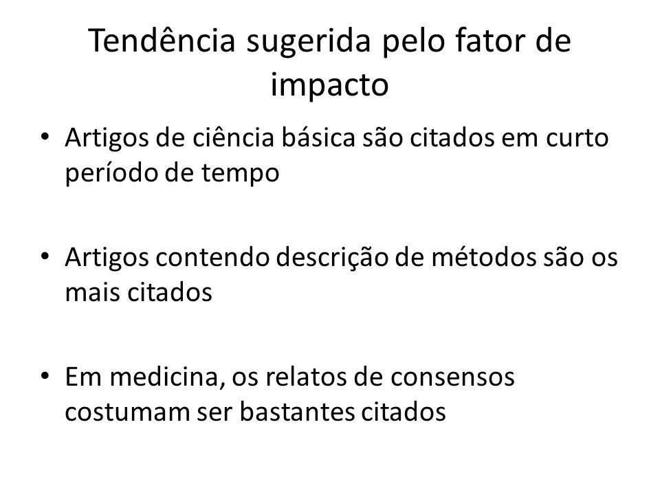 Tendência sugerida pelo fator de impacto Artigos de ciência básica são citados em curto período de tempo Artigos contendo descrição de métodos são os