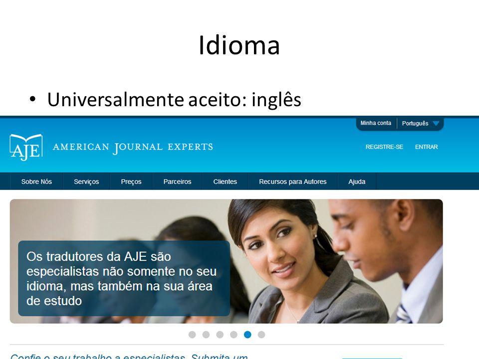 Idioma Universalmente aceito: inglês