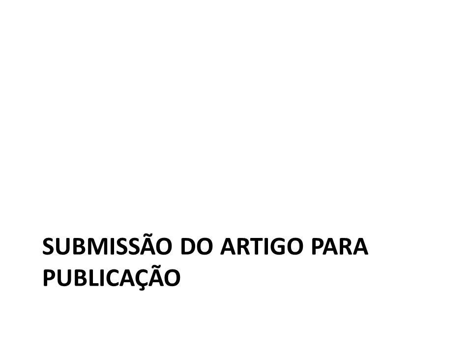 SUBMISSÃO DO ARTIGO PARA PUBLICAÇÃO