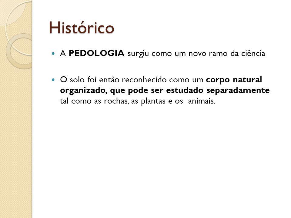 Histórico A PEDOLOGIA surgiu como um novo ramo da ciência O solo foi então reconhecido como um corpo natural organizado, que pode ser estudado separad