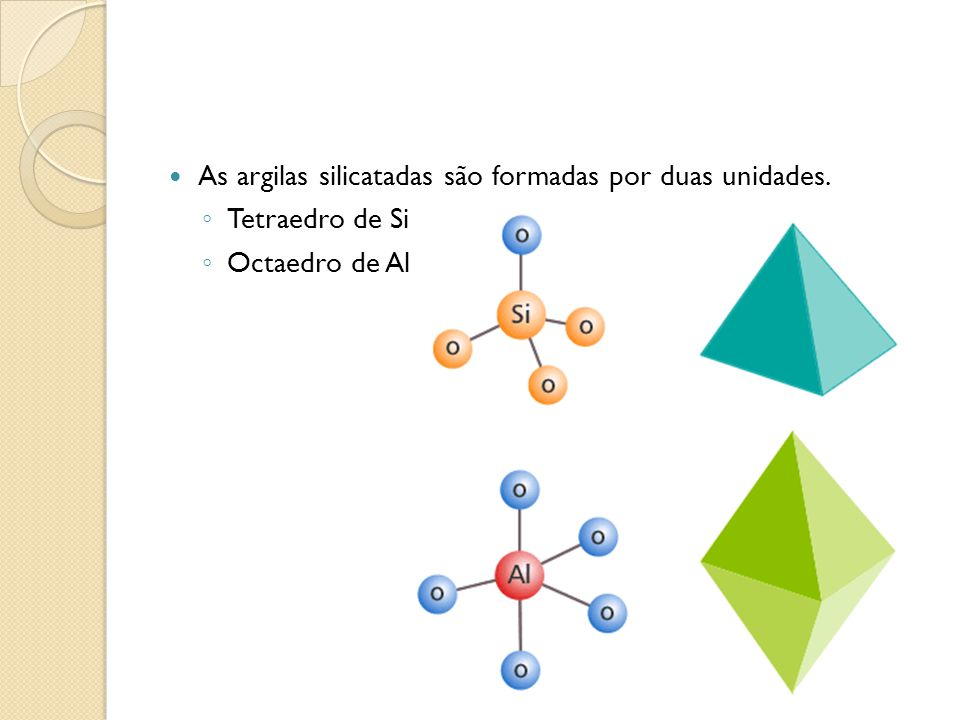 As argilas silicatadas são formadas por duas unidades. Tetraedro de Si Octaedro de Al