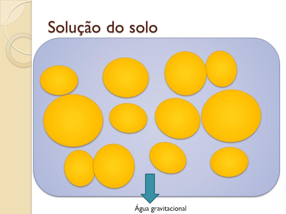 Solução do solo Água gravitacional Água higroscópica Água capilar