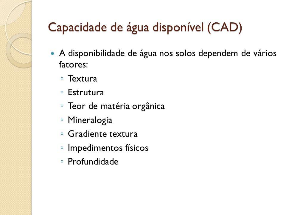 Capacidade de água disponível (CAD) A disponibilidade de água nos solos dependem de vários fatores: Textura Estrutura Teor de matéria orgânica Mineral