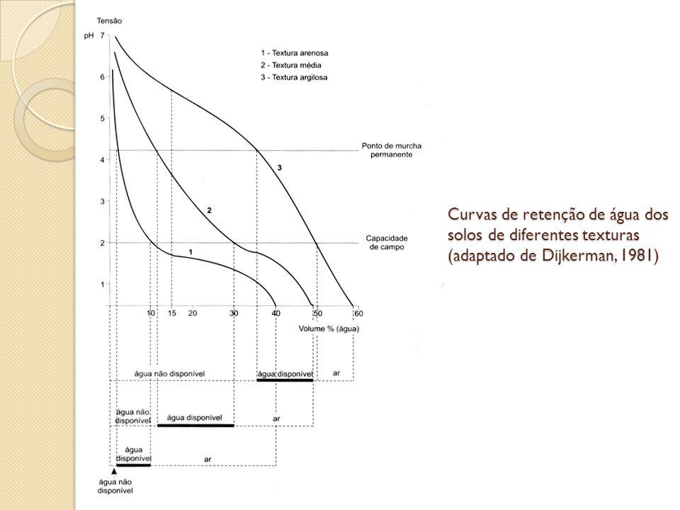 Curvas de retenção de água dos solos de diferentes texturas (adaptado de Dijkerman, 1981)
