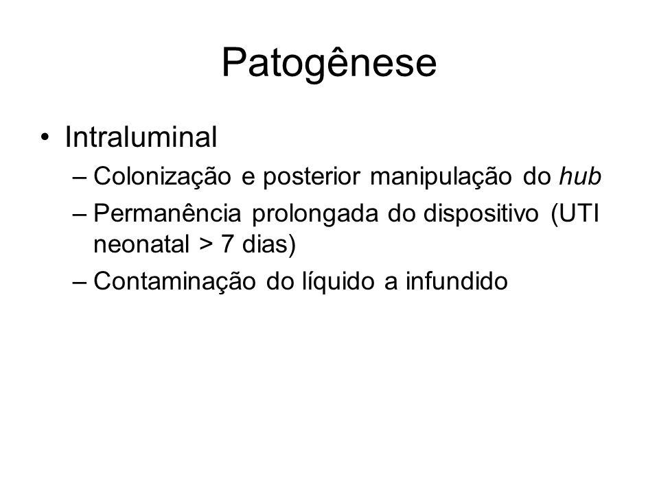 Patogênese Intraluminal –Colonização e posterior manipulação do hub –Permanência prolongada do dispositivo (UTI neonatal > 7 dias) –Contaminação do líquido a infundido