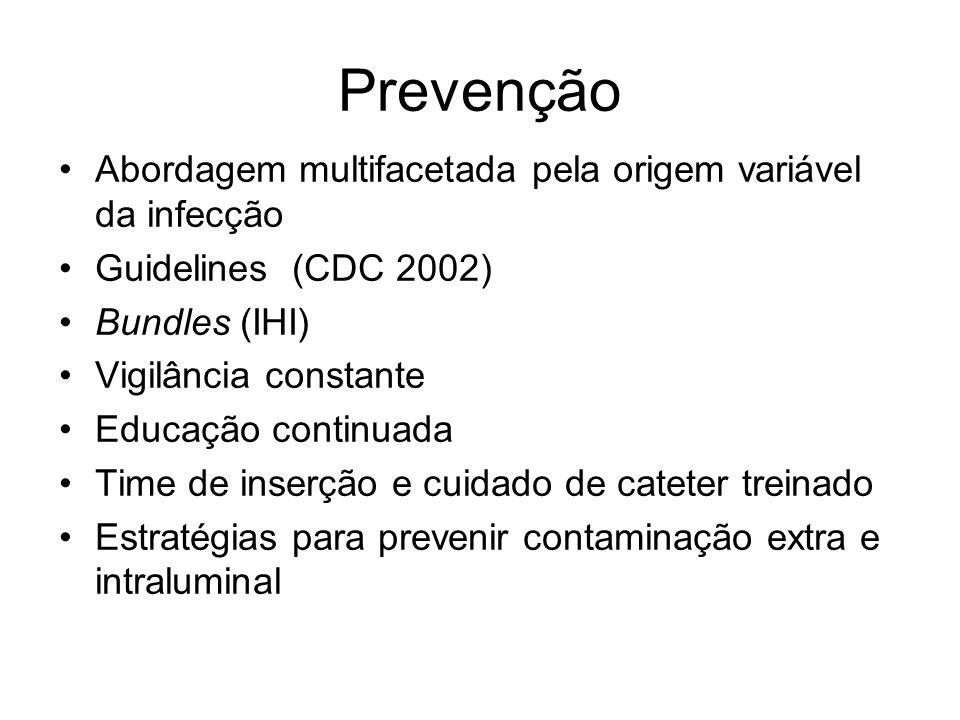 Prevenção Abordagem multifacetada pela origem variável da infecção Guidelines (CDC 2002) Bundles (IHI) Vigilância constante Educação continuada Time de inserção e cuidado de cateter treinado Estratégias para prevenir contaminação extra e intraluminal