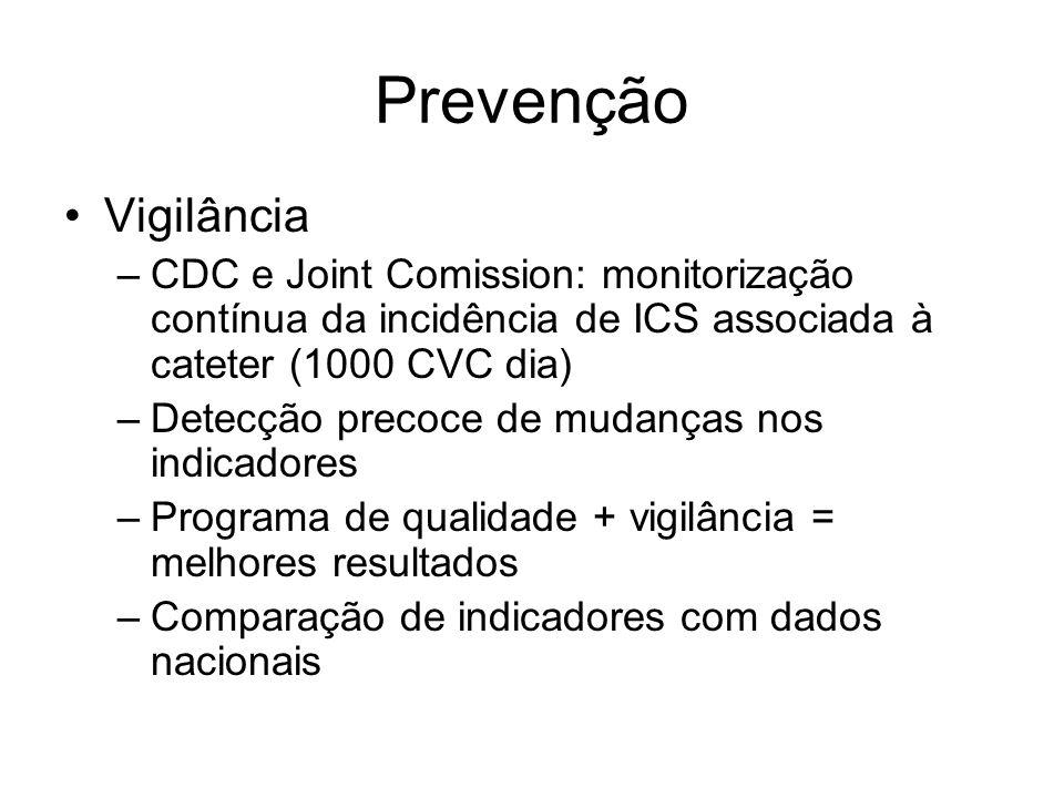 Prevenção Vigilância –CDC e Joint Comission: monitorização contínua da incidência de ICS associada à cateter (1000 CVC dia) –Detecção precoce de mudanças nos indicadores –Programa de qualidade + vigilância = melhores resultados –Comparação de indicadores com dados nacionais