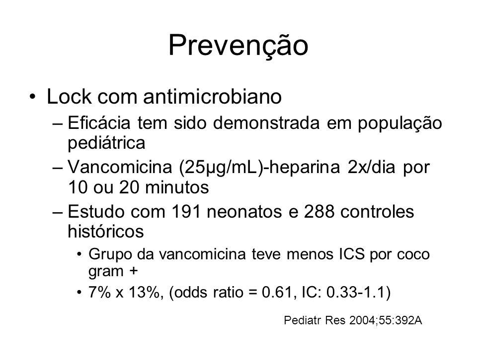 Prevenção Lock com antimicrobiano –Eficácia tem sido demonstrada em população pediátrica –Vancomicina (25µg/mL)-heparina 2x/dia por 10 ou 20 minutos –Estudo com 191 neonatos e 288 controles históricos Grupo da vancomicina teve menos ICS por coco gram + 7% x 13%, (odds ratio = 0.61, IC: 0.33-1.1) Pediatr Res 2004;55:392A