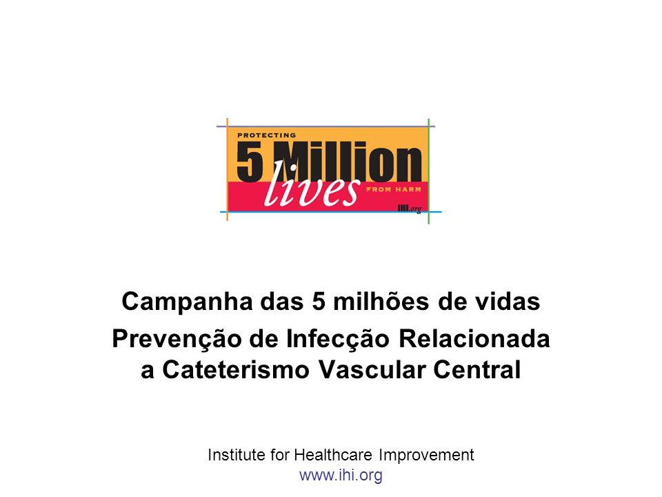 Campanha das 5 milhões de vidas Prevenção de Infecção Relacionada a Cateterismo Vascular Central Institute for Healthcare Improvement www.ihi.org