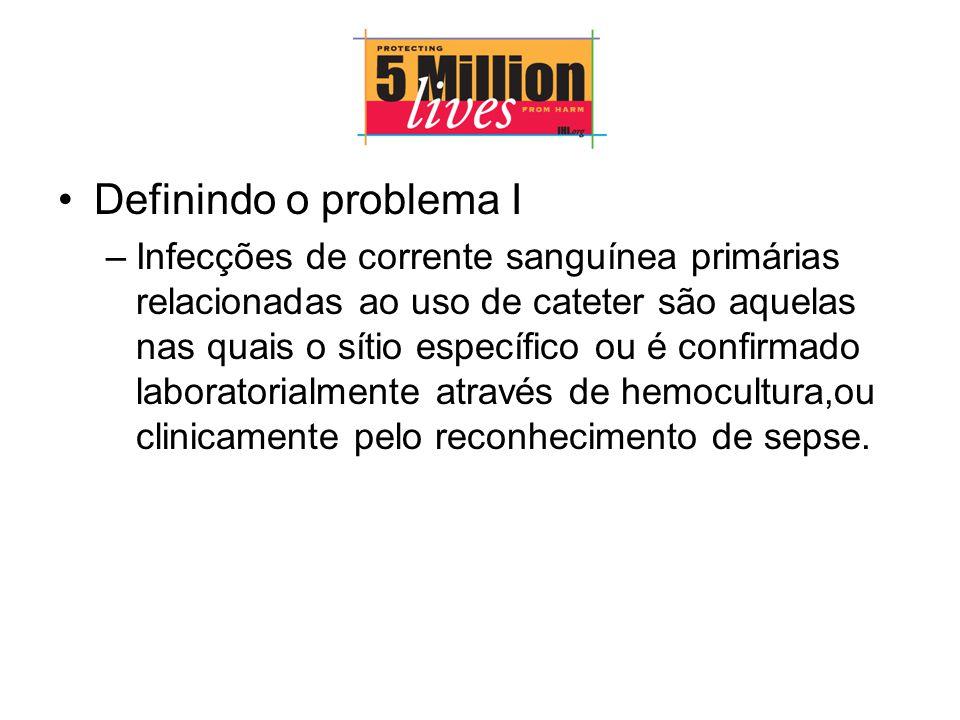 Definindo o problema I –Infecções de corrente sanguínea primárias relacionadas ao uso de cateter são aquelas nas quais o sítio específico ou é confirmado laboratorialmente através de hemocultura,ou clinicamente pelo reconhecimento de sepse.