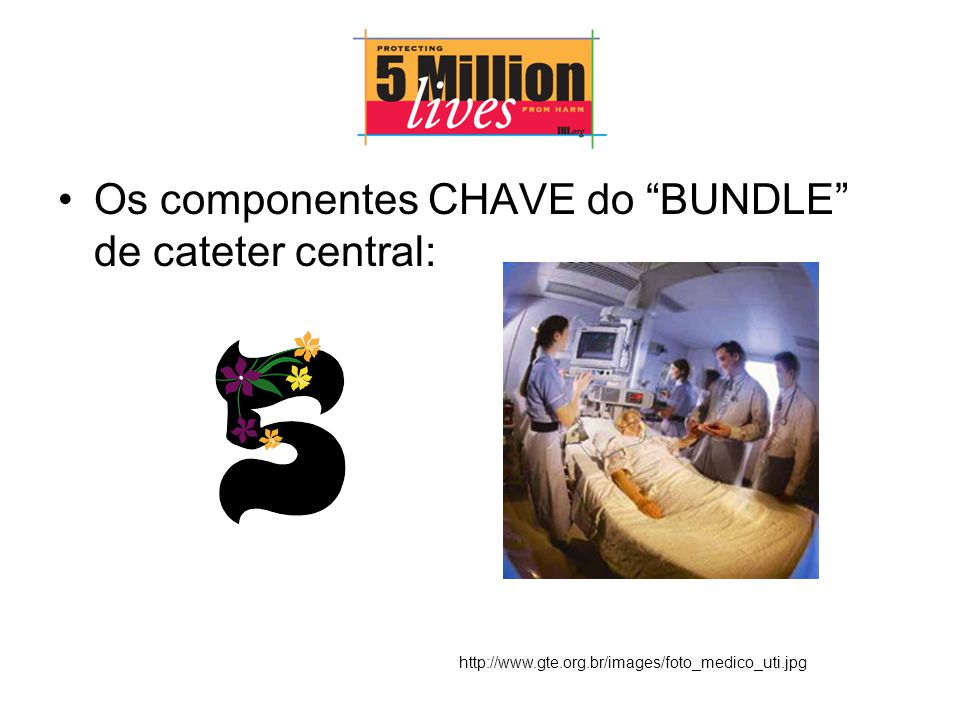 Os componentes CHAVE do BUNDLE de cateter central: http://www.gte.org.br/images/foto_medico_uti.jpg