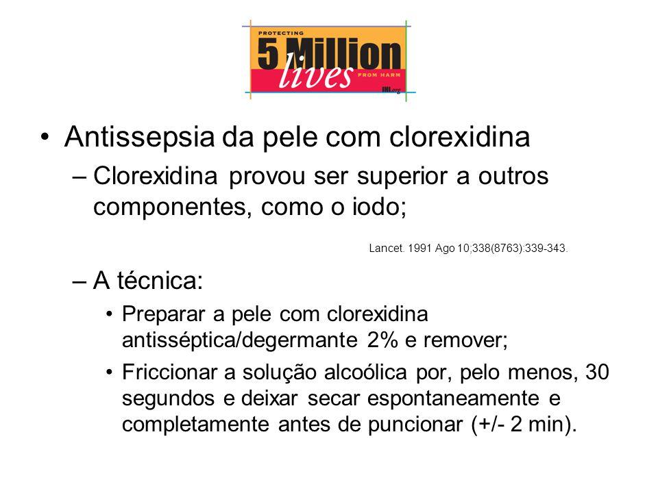 Antissepsia da pele com clorexidina –Clorexidina provou ser superior a outros componentes, como o iodo; Lancet.