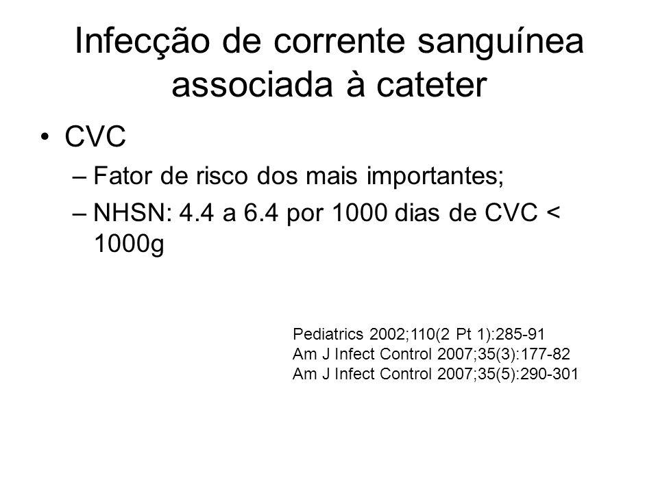 Infecção de corrente sanguínea associada à cateter CVC –Fator de risco dos mais importantes; –NHSN: 4.4 a 6.4 por 1000 dias de CVC < 1000g Pediatrics 2002;110(2 Pt 1):285-91 Am J Infect Control 2007;35(3):177-82 Am J Infect Control 2007;35(5):290-301