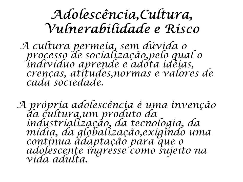 Adolescência,Cultura, Vulnerabilidade e Risco A cultura permeia, sem dúvida o processo de socialização,pelo qual o indivíduo aprende e adota idéias, c